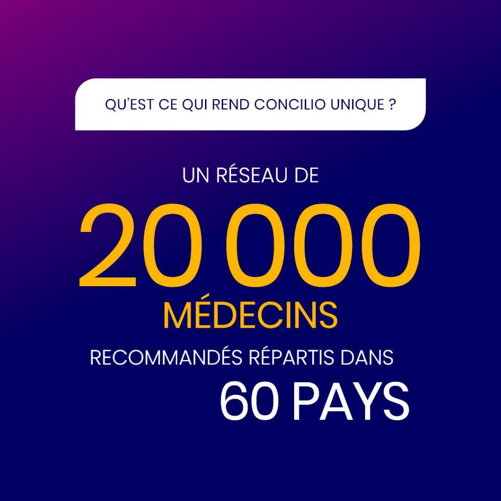 Un réseau de 20 000 médecins recommandés répartis dans 60 pays